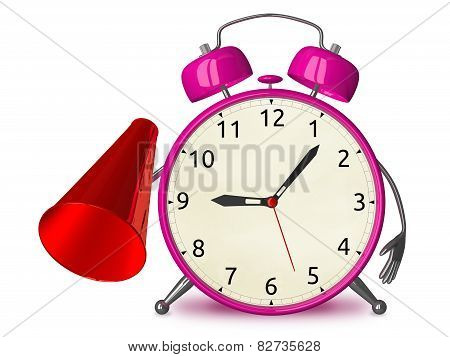 Pink Alarm Clock With Megaphone
