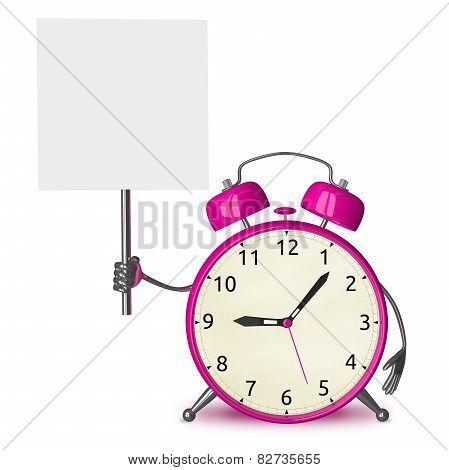 Pink Alarm Clock With Placard