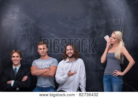 Group of young adults man waiting for being choiced by beutiful woman