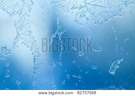 Frozen Glass. Ice Flowers. Frost Flowers. Window Frost. Winter Window. Frozen Window. Craquelure. (m
