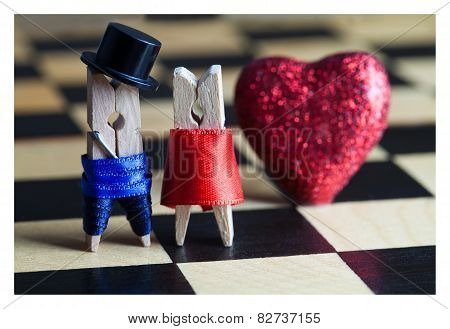 Love Concept. Clothespins: Romantic Couple. Wedding. Valentines Day. Man, Woman. Gentleman In Black