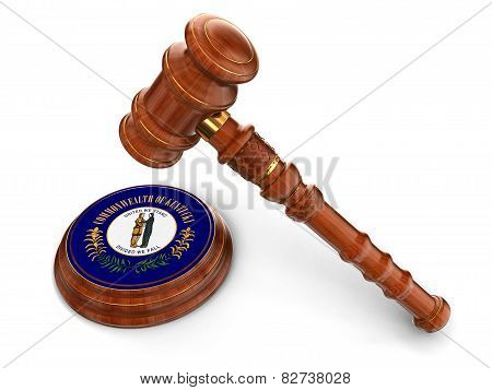 Wooden Mallet and flag Of Kentucky (clipping path included)