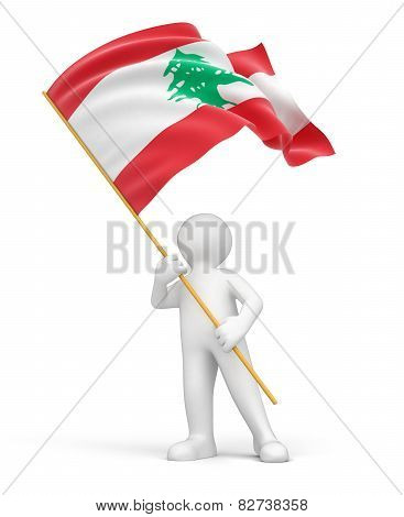 Man and Lebanon flag (clipping path included)