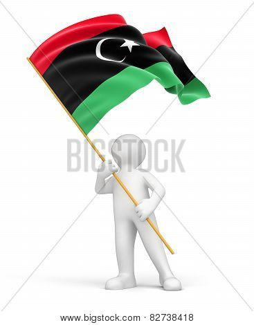 Man and Libya flag (clipping path included)