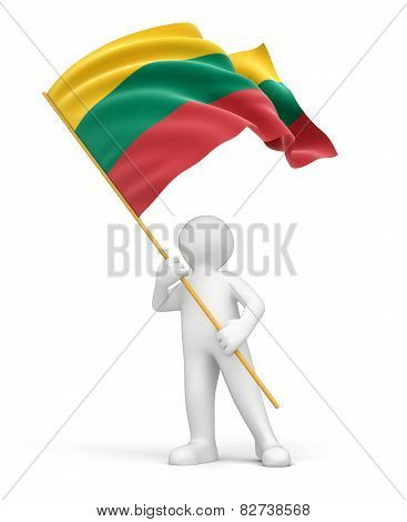Man and Lithuanian flag (clipping path included)