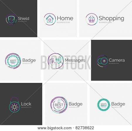Thin line neat design logo collection - 9 vector clean modern icons and stamps