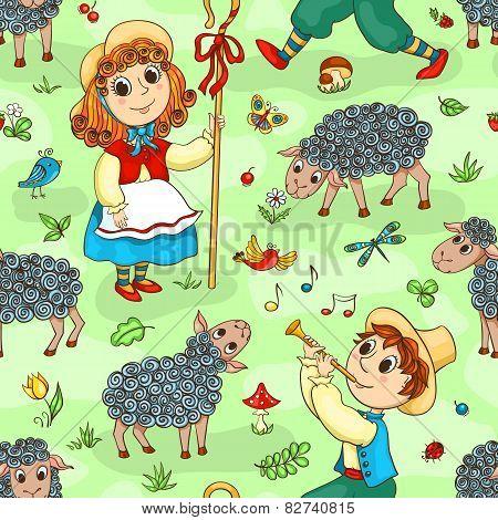 Seamless Pattern With Shepherd-girl And Shepherd-boy