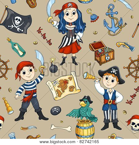 Cute Pirates Seamless Pattern