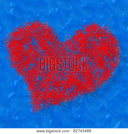 Composed red heart on blue background