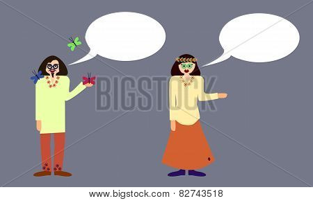 Couple of hippies with communication bubble isolated on gray background