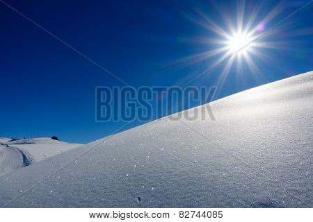 Morning sun on the snow field