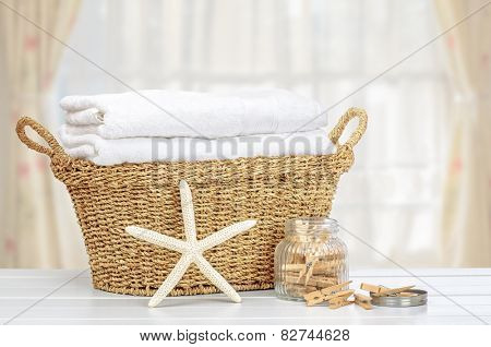 Basket of laundry with pegs