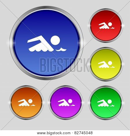Swimming Sign Icon. Pool Swim Symbol. Sea Wave. Set Colourful Buttons Vector