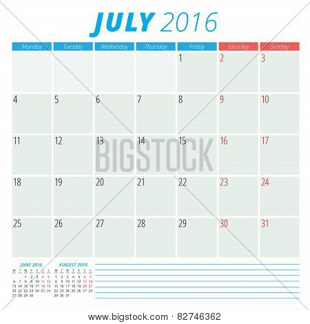 Calendar 2016 Vector Flat Design Template. July. Week Starts Monday