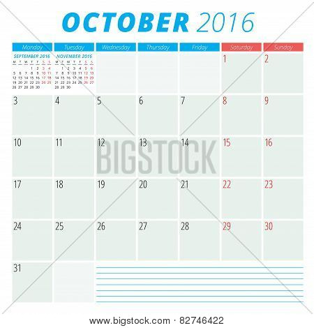 Calendar 2016 Vector Flat Design Template. October. Week Starts Monday