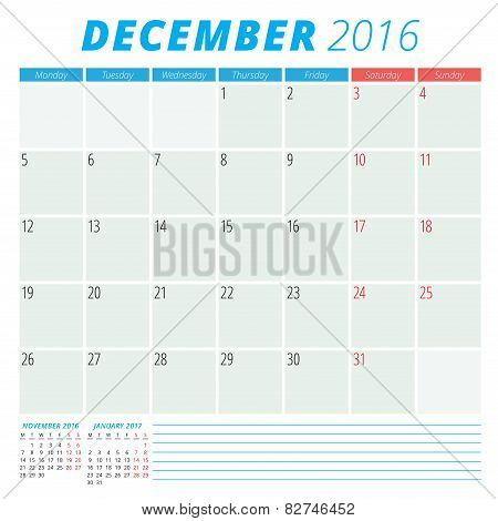 Calendar 2016 Vector Flat Design Template. December. Week Starts Monday