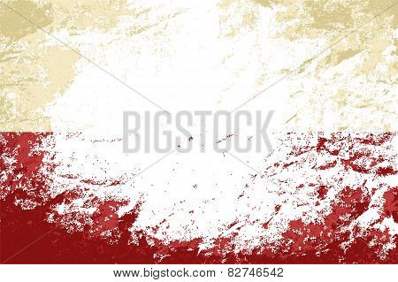Polish flag. Grunge background. Vector illustration