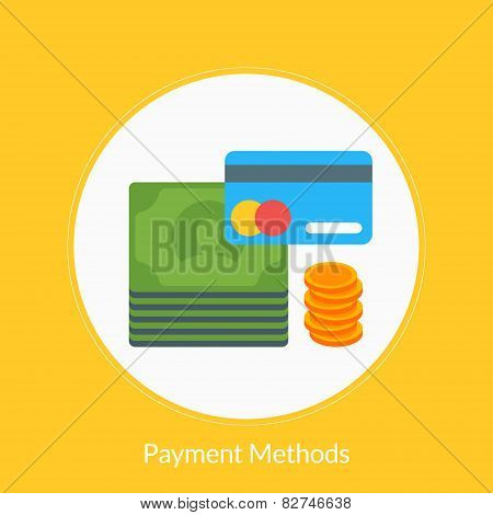 Flat Design Concept For Payment Methods. Vector Illustration For Web Banners And Promotional Materia
