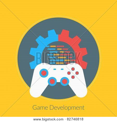 Flat Design Concept For Game Development. Vector Illustration For Web Banners And Promotional Materi