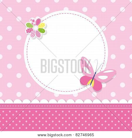 pink butterfly baby girl greeting card
