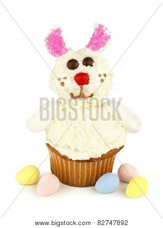 Easter bunny cupcake over white