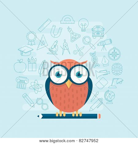 Smart Owl Standing On Pencil Surrounded By Thin Line Education Themed Icons