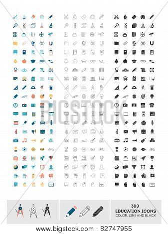 Set Of 300 Education Icons Made In Color, Line And Black