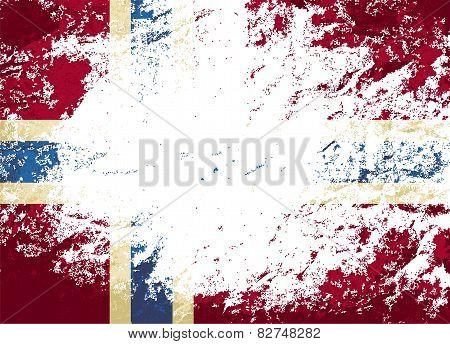 Norwegian flag. Grunge background. Vector illustration