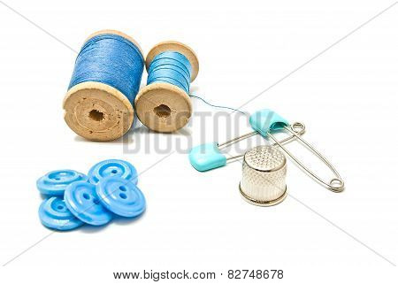 Thread, Buttons And Thimble