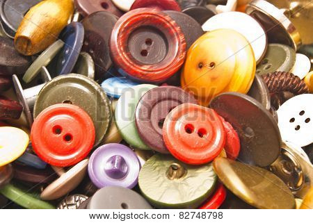 Heap Of Various Colorful Buttons