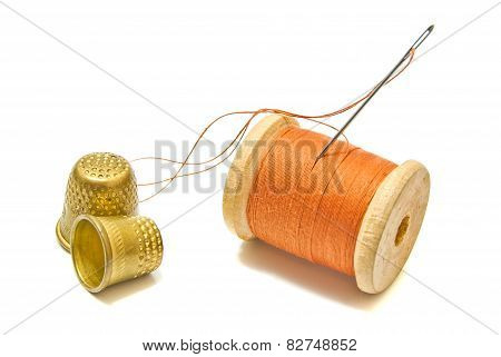 Spool Of Thread, And Thimbles