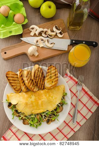 Mushroom And Microgreen Omelet