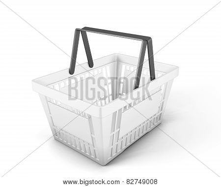 Empty White Plastic Shopping Basket Foe Food