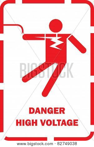 Flat Vector of high voltage shock Warning, thailand electricity post.