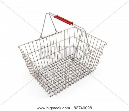 Shopping Supermarket Basket Isolated On The White