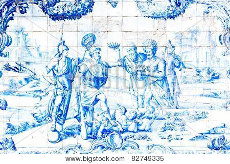 BAHIA, BRAZIL - CIRCA NOV 2014: Blue tile in Sao Francisco monastery created by Bartolomeu de Jesus in the mid-eighteenth century in Bahia, Brazil.