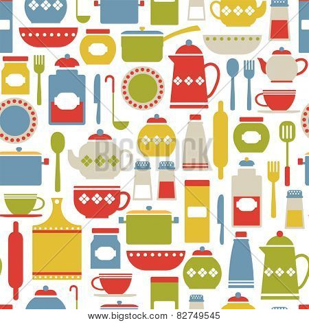 seamless pattern with colorful cooking icons. isolated on white