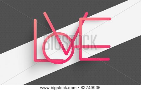 Pink Love text on stylish background for Happy Valentines Day celebration.