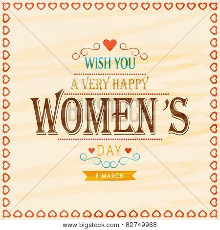 Elegant greeting card design for International Women's Day celebration on stylish background.