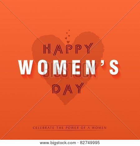International Women's Day celebration greeting card design on hearts decorated orange background.