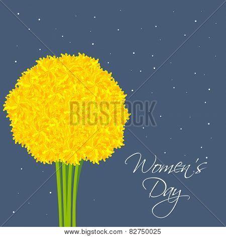 Beautiful yellow flower bouquet on blue background for International Women's Day celebration.