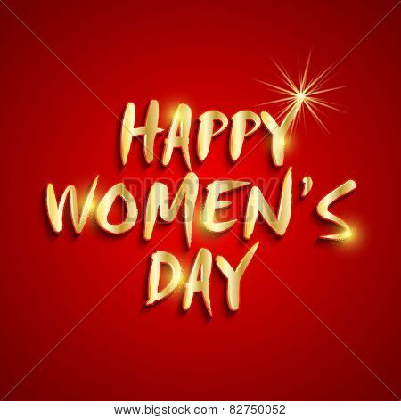 Shiny golden text Happy Women's Day on red background.