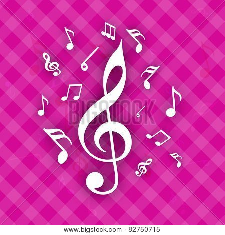 Musical notes on seamless pink background.