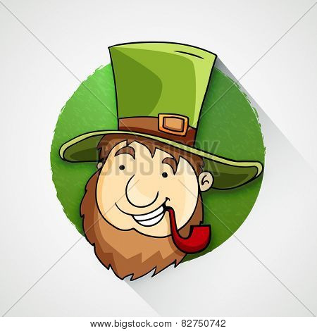 Happy Leprechaun in hat smocking tobacco pipe on occasion of Happy St. Patrick's Day celebration.