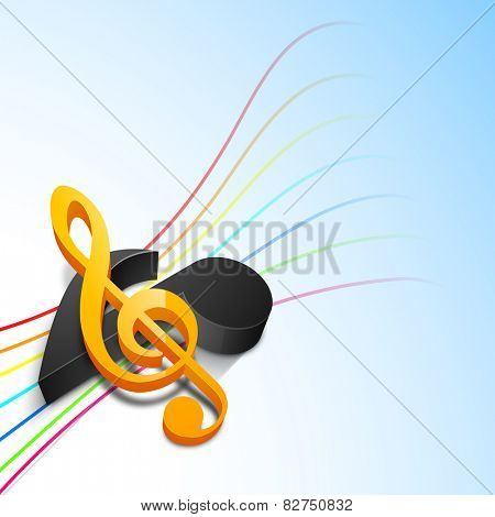 3D musical notes with colorful waves on sky blue background.
