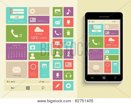 Mobile user interface design with web icons, musical icons, social media icons and smart phone presentation on beige background.