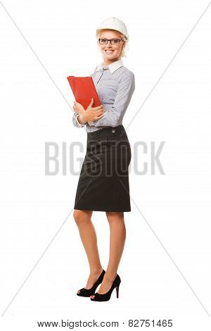 Woman construction worker with hard hat on white. Full length portrait
