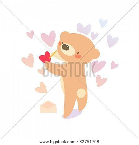 Teddy bear writing love letter