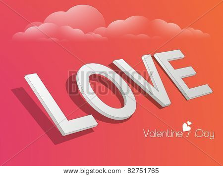3D text Love for Happy Valentine's Day celebration on colorful cloudy background.