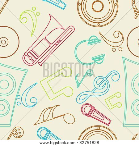 Seamless pattern with musical instrument and musical notes.